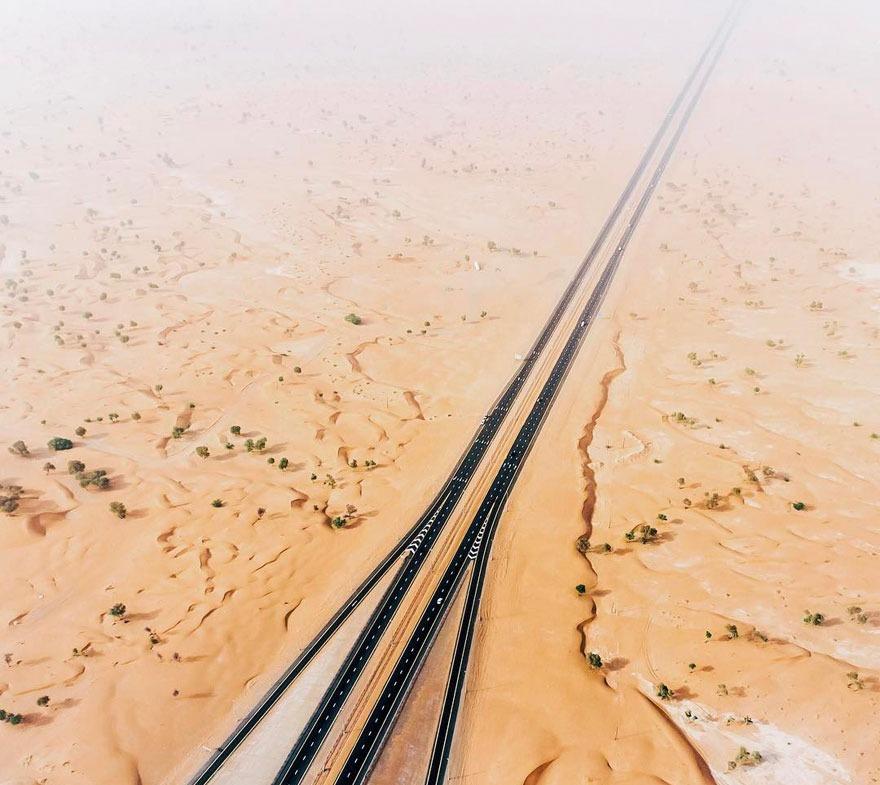 The vast expanse surrounding Dubai by-pass road (E611) Emirates Road